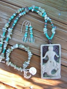 Carved Jasper Mermaid Set... here is a picture of the set .