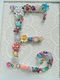 vintage christmas tree Cottage Shabby Vintage Jewelry Framed Christmas Tree ~INITIAL E ~ Letter Jewelry Frames, Jewelry Art, Jewelry Gifts, Handmade Jewelry, Initial Jewelry, Jewlery, Beading Jewelry, Boho Jewelry, Jewelry Bracelets