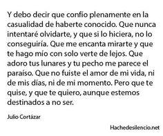 Julio Cortazar// todo tiene su momento y lugar, no te deseó ni nunca desearé mal. Simplemente creo q no estábamos destinados a ser.