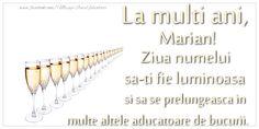 Felicitari de Ziua Numelui - La multi ani, Marian Ziua numelui sa-ti fie luminoasa si sa se prelungeasca in multe altele aducatoare de bucurii. Mariana