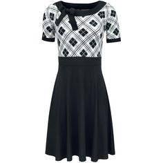 "Pussy Deluxe Medium-length dress, Women ""Bonnie Checkered"" black-white • EMP"