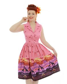 'Matilda' Pink Safari Print Swing Dress