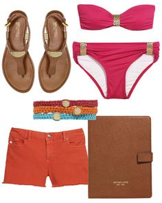 MICHAEL Michael Kors  Cayman Hammered-Plate Bandeau Bikini, iPad Stand & Macrame Pave Bracelet.