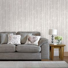 Graham & Brown Damaris Gray and Silver Removable Wallpaper Sample 10425994 - The Home Depot Brown Wallpaper, Striped Wallpaper, Of Wallpaper, Botanical Wallpaper, Modern Wallpaper Designs, Contemporary Wallpaper, Designer Wallpaper, Papier Paint, Home Decor