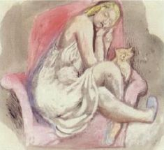 Woman with cat by EDWARD DOUGLAS EADE
