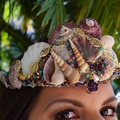 Your place to buy and sell all things handmade Mermaid Hair Accessories, Mermaid Crown, Cherry On Top, Head Pieces, Turquoise Gemstone, Crowns, Seed Beads, Rave, Whimsical