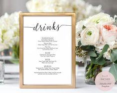 Wedding drink menu template Bar signs for wedding Editable menu