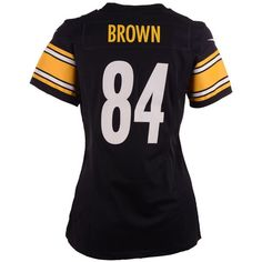 Nike Women's Antonio Brown Pittsburgh Steelers Game Jersey (€79) ❤ liked on Polyvore featuring activewear, activewear tops, black, nike activewear, nfl sportswear, nike sportswear, nike jerseys and browns jersey
