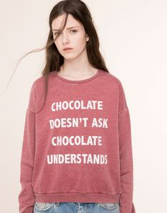 Pull&Bear - woman - sweatshirts - chocolate' sweatshirt - faded pink - 05591318-V2016