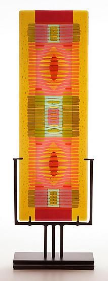 Amber/Salmon Line Work vertical by Lynn Latimer: Art Glass Sculpture available at www.artfulhome.com