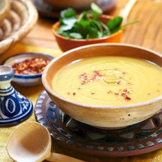 Moroccan soup: Sweet potato, carrot and lentil soup - spicy w/ lemon - use water or veg stock (or coconut milk? Carrot And Lentil Soup, Lentil Soup Recipes, Vegetarian Recipes, Cooking Recipes, Healthy Recipes, Clean Recipes, I Love Food, Good Food, Yummy Food