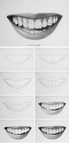 How to draw teeth and lips - 7 easy steps - .- man Zähne und Lippen zeichnet – 7 einfache Schritte – How to draw teeth and lips – 7 easy steps – Pencil Art Drawings, Art Drawings Sketches, Easy Drawings, People Drawings, Easy Realistic Drawings, Realistic Face Drawing, Realistic Sketch, Outline Drawings, Art Illustrations