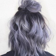 Pretty pale lilac lavender purple with a wavy bob by Aveda Artist April Marie Madsen.