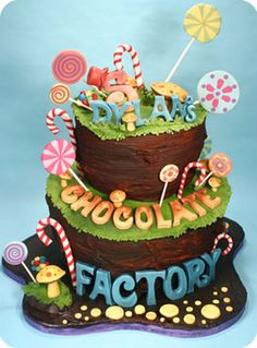 """Charlie and the Chocolate Factory""-inspired cake."
