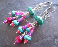 RESERVED+Fuchsia+Pink+and+Faceted+Turquoise+by+sunrisetreasures