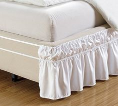 """Product review for Fancy Collection Queen-King Easy Fit Bed Ruffle wrap Around Elastic Bed Skirt With 17"""" Drop New Easy Install Solid White. - Adjustable elastic trimmed ruffle makes it so easy to put on and take off your bed, that you won't even need to lift the mattress! Hides your box spring and underneath storage too. Poly/cotton. Machine wash. Imported. Twin/Full: 75""""L x 54""""W x 17""""H, Queen/King/California King:.... Continue reading at http://bit."""