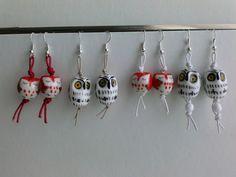 Orecchini in ceramica e corda soggetto gufi, by TF Tricot Folies, 6,50 € su misshobby.com