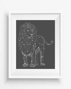 Lion Low Poly Printable Art,Geometric Lion ,Polygonal Animal,digital prints,instant download,Geometric Lion Art,black white decor