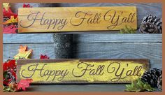 Happy Fall Y'all Wood Sign  Autumn Decor by TheChickenStudio