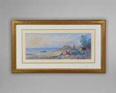 """No: 406M Thomas Charles Leeson Rowbotham (1823-1875)   """"Italian Coastal Scene"""" Signed T C Rowbotham lower right and dated 1871"""