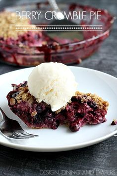 Berry Crumble Pie- Gotta try this. I love a pie with a pat in crust! #recipe #pies
