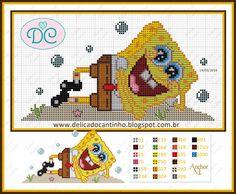 SpongeBob pattern by Delicado Cantinho - http://delicadocantinho.blogspot.com.br/2016/03/grafico-ponto-cruz-bob-esponja.html