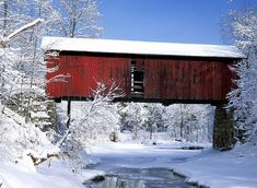 Old Covered Bridge in the winter, Northfield Falls, Vermont State... (Love this winter wonderland)