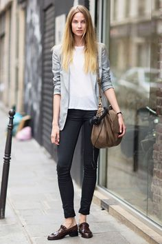 casual tee + skinny jeans worn with a sleek blazer and slip-on shoes