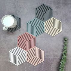 Chic Silicone Coaster Cup Hexagon Mats Pad Heat insulated Bowl Placemat Home Decor Desktop Eco friendly Japanese Simple Mats Popsicle Stick Crafts, Craft Stick Crafts, Diy And Crafts, Silicone Coasters, 3d Prints, Home Decor Furniture, Diy Wall, Diy Room Decor, Wall Decor