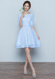 de8db1e28483 Women's Bateau Lace Knee Length Party Homecoming Dress With 3/4 Sleeves  Holiday Dresses,