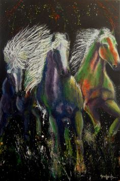 "Wild Horses By Helen Leigh  Abstract Expressionist-Drip Painting (style)  Materials:  Acrylic and Metallic Paint on Canvas  LARGE 90cm x 60cm x 3.5cm (24"" x 36"") - Exhibition Grade Canvas."