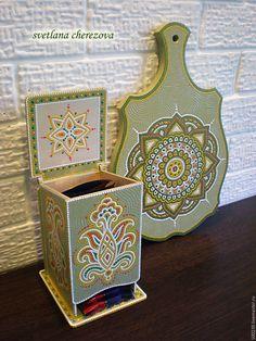 """Купить Чайный домик """"Папоротник"""" - разноцветный, чайный домик, точечная роспись, чай, чайная шкатулка"""