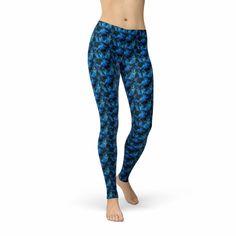 Avery Dark Blue Crystalline Lycra Leggings, Printed Leggings, Blue Crystals, Workout Leggings, Soft Fabrics, Dark Blue, Casual, How To Wear, Size Chart