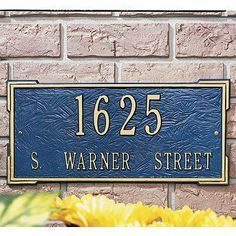 "Standard Roanoke Plaque - White with Gold Letters, Wall - Frontgate by Frontgate. $99.00. 16-1/2""L x 7-3/4""H, 4 lbs. 3"" numbers on first line. 1-1/4"" characters on second line."