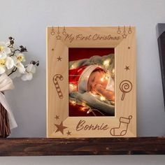 My First Christmas Picture Frame, Personalized Picture Frames 4x6, 1st Christmas Photo Frame, Wooden Picture Frames 5x7 by MarketingHills on Etsy Personalized Picture Frames, Wooden Picture Frames, Christmas Picture Frames, Christmas Pictures, My First Christmas, Christmas Holidays, Picture Engraving, Gifts For Father, Special Gifts