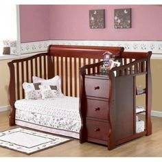 Sorelle Tuscany 4-in-1 Convertible Crib and Changer Combo - Cribs at Hayneedle