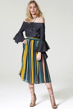 Clean Cut Stripe Pleats Skirt Discover the latest fashion trends online at storets.com