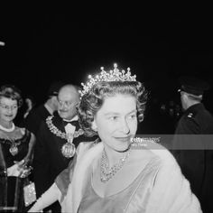 Queen Elizabeth II attends a performance at RADA (the Royal Academy of Dramatic Art), to celebrate the drama school's Diamond Jubilee (60th anniversary), London, UK, November 1964.