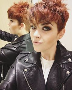 Long Messy Pixie Cut with Undercut and Vibrant Cinnamon Coloring