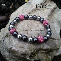 A Lovely Hot Pink Stretchy Bracelet by JustynaJewelleryUK on Etsy, £10.00