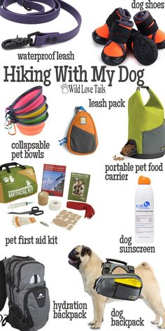 Time for a hike and don't forget the pup! Grab these items, water and some food for pets and people and you are ready for the day! Remember to pack people and dog sunscreen! Hiking Dogs, Hiking With Dog, Camping With A Dog, Dog Walking Business, Summer Dog, Outdoor Dog, Outdoor Travel, Dog Travel, Dog Accessories