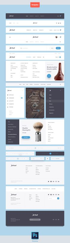 헤더 - Kauf is a UI Web Kit crafted in Photoshop and designed for help you in your next… Navigation Design, Footer Design, Header Design, Ecommerce Web Design, Graphisches Design, Web Ui Design, Web Design Trends, Menu Design, User Interface Design
