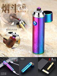 [Visit to Buy] New double arc cigar lighter cigarette Usb Charging Electric Plasma Eletronic Windproof Lighters for Smoker  Smoking Pipe HY-108 #Advertisement