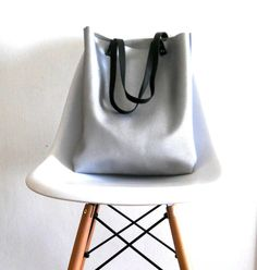 Silver Leather tote  Bag for your every day use by Smadars on Etsy, $125.00