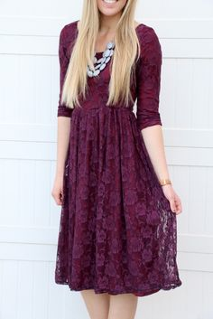 Sweetheart Lace Dress | Plum
