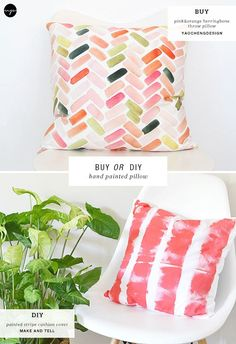 """40 Insanely Creative Fabric Painting Ideas Unleash your creativity and make people go """"Ooh la lah!"""" with these Creative Fabric Painting Ideas. All you need for these – only colors and loads of ideas! Fabric Painting, Diy Painting, Diy Craft Projects, Diy Crafts, Diy Throw Pillows, Rustic Decorative Pillows, Hand Painted Fabric, Fabric Stamping, Cool Ideas"""