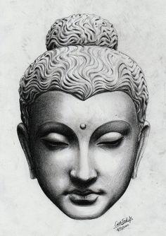 Wonderful Buddha head statue tattoo design