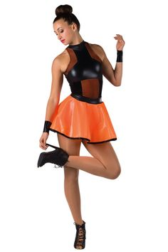 Style#  17280 RUN THE WORLD - ORANGE  Black velvet, fantasy spandex and color spandex short unitard with black mesh overlays. Separate color mesh on clear vinyl skirt. Black fantasy spandex binding trim. Wrist bands included. SC-XXLA