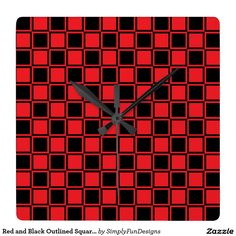 Red and Black Outlined Squares Square Wall Clock