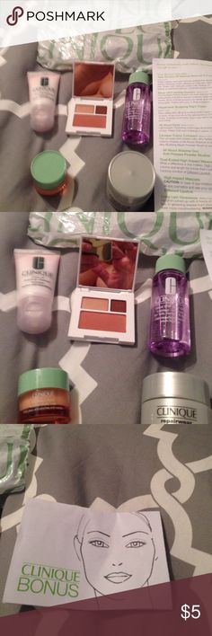 Makeup samples Never used Clinique bonus day 5 piece set. Opened to display items. Set includes rinse off foaming cleanser, repairwear sculpting night cream, all about eyes, color compact, and rinse off foaming cleanser. Clinique Makeup